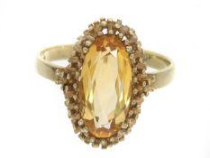 Ring: vintage Goldschmiedering mit Citrin Ca. Ø18,5mm, RG58, ca. 3,7g, 8K Gold, Ringkopf ca.18 ×