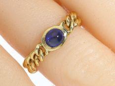 Ring: vintage Kettenring mit Saphirbesatz Ca. Ø17,5mm, RG55, ca. 4,7g, 14K Gold, beweglich