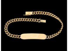 Armband: goldenes Panzerarmband mit Namensschild, ungraviert und ungetragenCa. 19cm lang, ca. 12g,