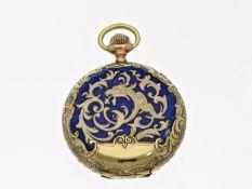 Taschenuhr/Anhängeuhr: sehr seltene Art Nouveau Gold/Emaille-Damensavonnette, um 1900Ca. Ø32mm,