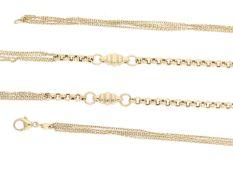 Kette: lange, mehrreihige und sehr dekorative Goldkette, neuwertigCa. 79cm lang, ca. 17,3g, 14K