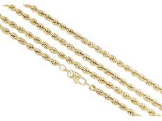 Kette/Collier: lange Kordelkette, neuwertigCa. 89,5cm lang, ca. 8g, 8K Gelbgold, ca. 3,5mm stark,