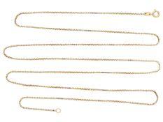 Kette/Collier: lange, feine CollierketteCa. 90cm lang , ca. 6,4g, 8K Gelbgold, Venezianer Muster,