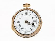 Taschenuhr: prächtige, italienische 4-Farben-Gold-Spindeluhr mit aufwändiger Relief-Szene und