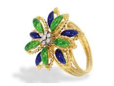 """Ring: äußerst dekorativer vintage Emaille-Goldschmiedering """"Palme"""", Handarbeit, 18K GoldCa. Ø17,5mm,"""