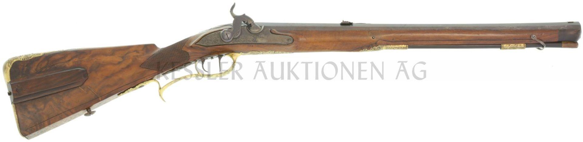 """Perkussionsbüchse, bayrischer Jägerstutzen, """"Schubert in Abensberg"""", Kal. 13mm LL 510mm, TL 865mm,"""