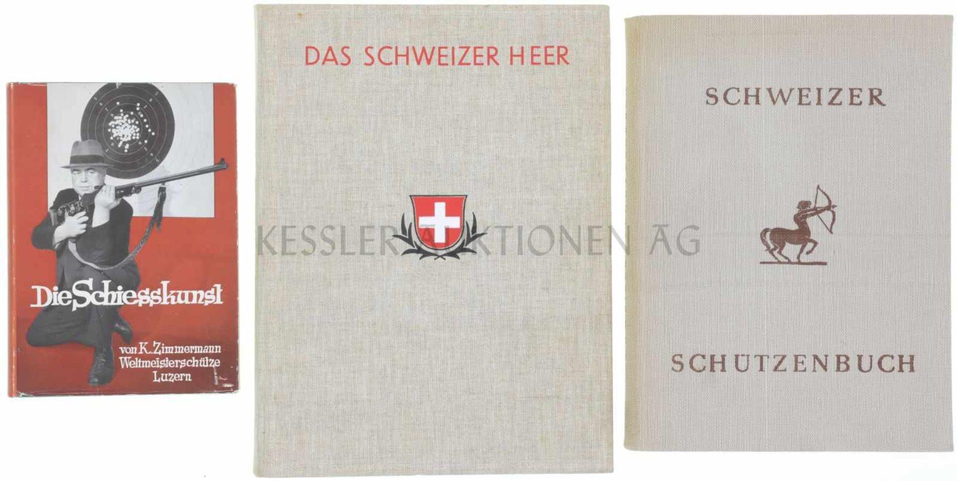 Konvolut von 3 Büchern 1. Die Schiesskunst, von K. Zimmermann, Weltmeisterschütze Luzern, 2.