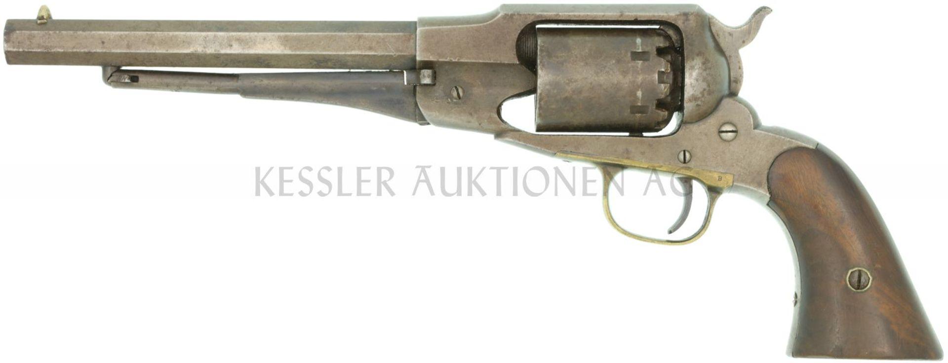 Perkussionsrevolver, Remington 1858 New Model Navy, Kal. .36 LL 187mm, TL 335mm, brünierte beriebene