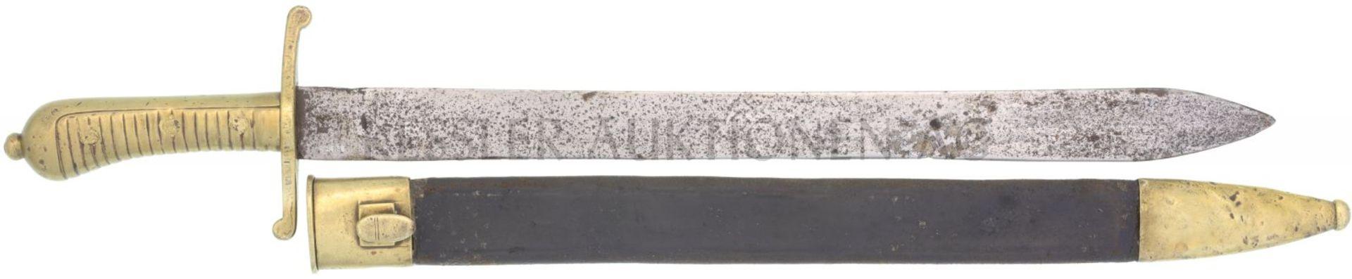 Faschinenmesser bayrisch, Mod. 1830, Infanterie KL 455mm, TL 585mm, volle Rückenklinge, auf dem