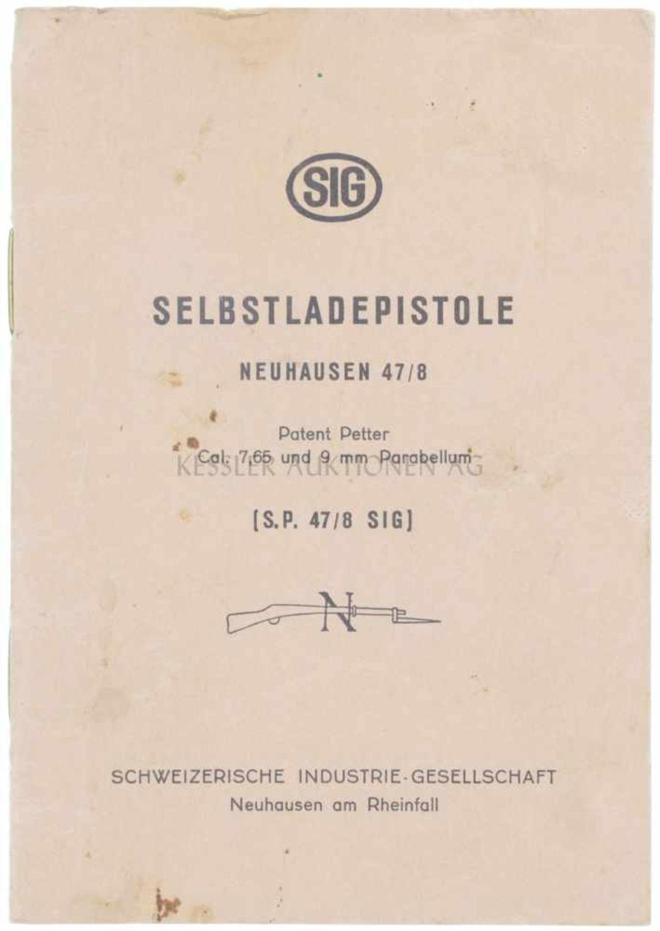 """Reglement """"Selbstladepistole Neuhausen SP47/8"""" 16-seitige Anleitung SIG S.P.47/8, chamoisfarbener"""