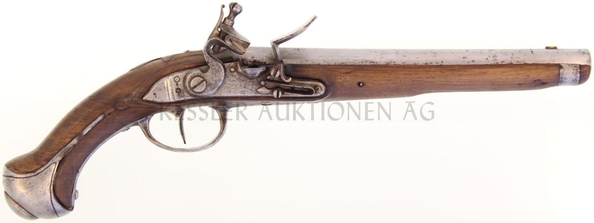 Steinschlosspistole Deutsch, Kal. 18.7mm 28.5cm langer Rundlauf mit achtkantiger Wurzel,