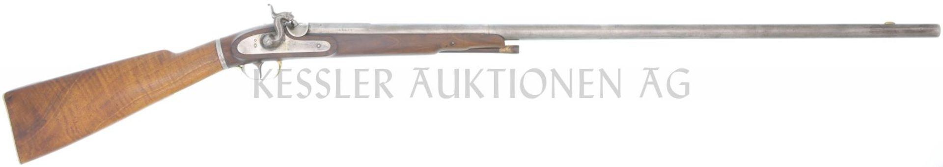 Perkussions-Wildererflinte, Kal. 13mm LL 790mm, TL 1180mm, Rundlauf, Wurzel oktagonal,