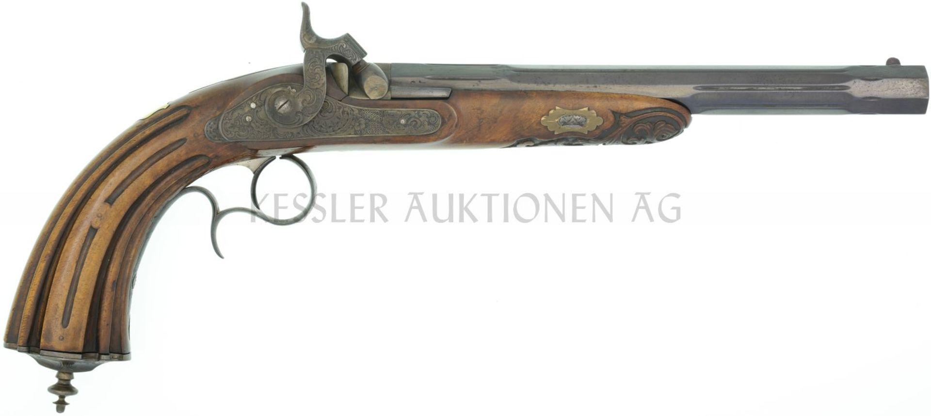 Perkussionspistole, belgischer Beschuss, um 1840, Kal. 13,2mm LL 236mm, TL 410mm, kannelierter,