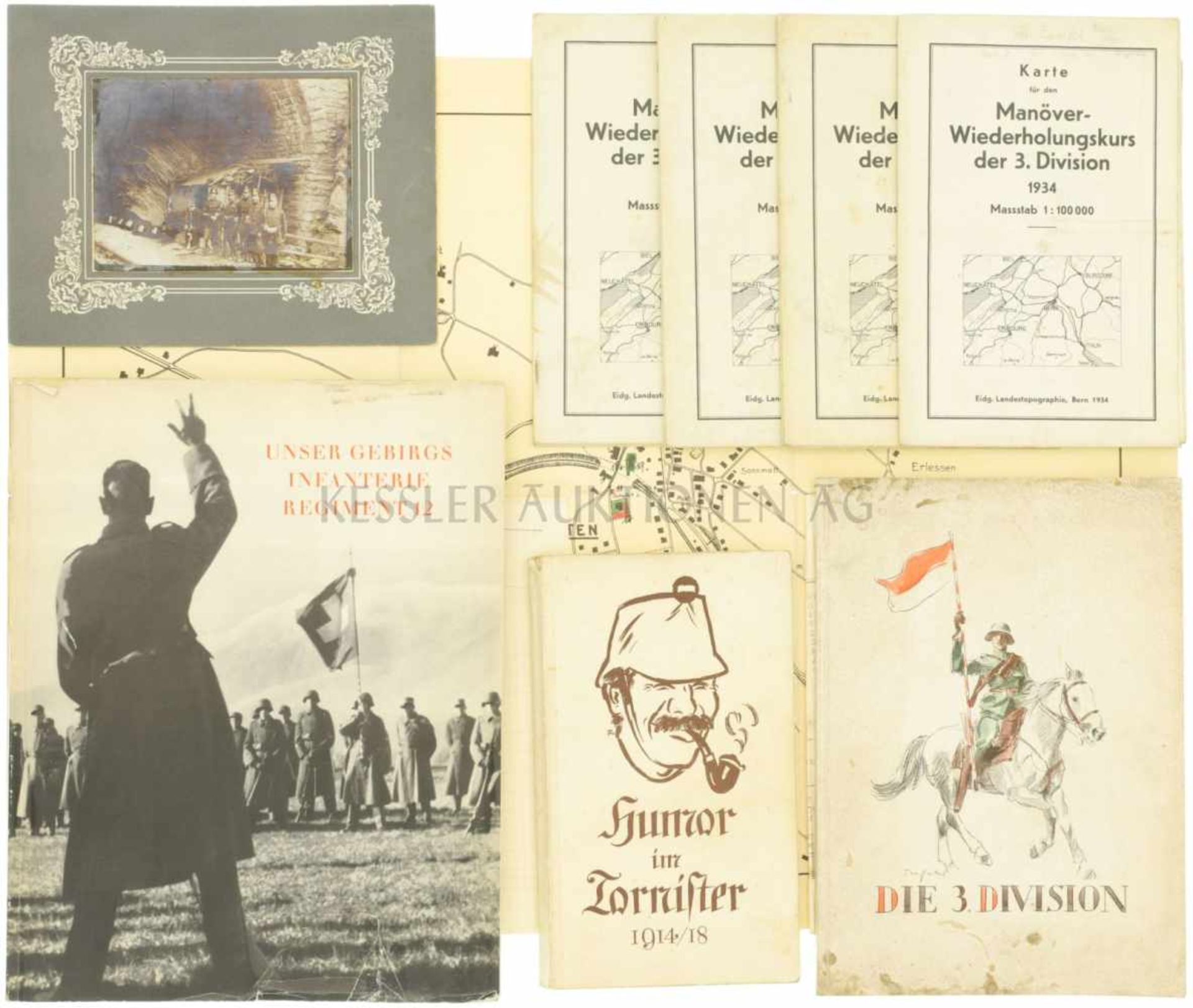 Konvolut von 3 Schriften und 5 Karten 1. Unsere Gebirgsinfanterie Regiment 12. 2. Die 3. Division