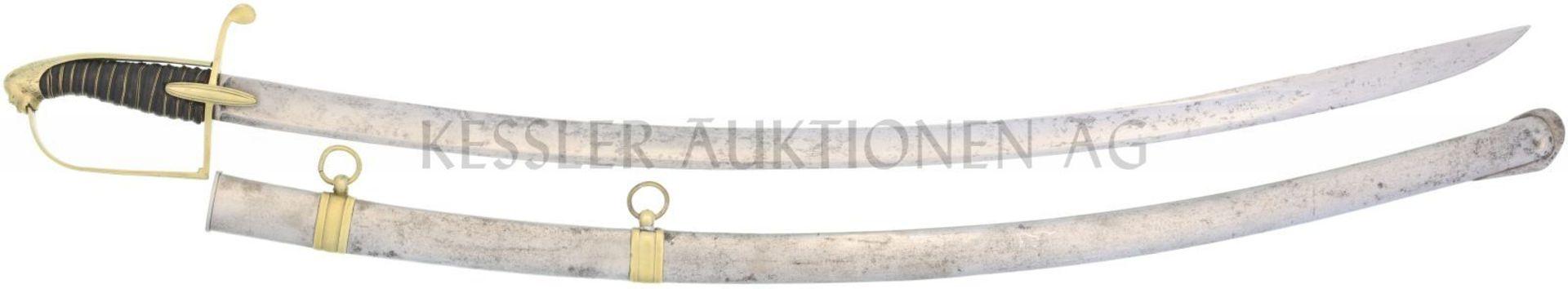Offizierssäbel Deutsch Kavallerie um 1820 KL 850mm, TL 975mm, Rückenklinge mit beidseitiger