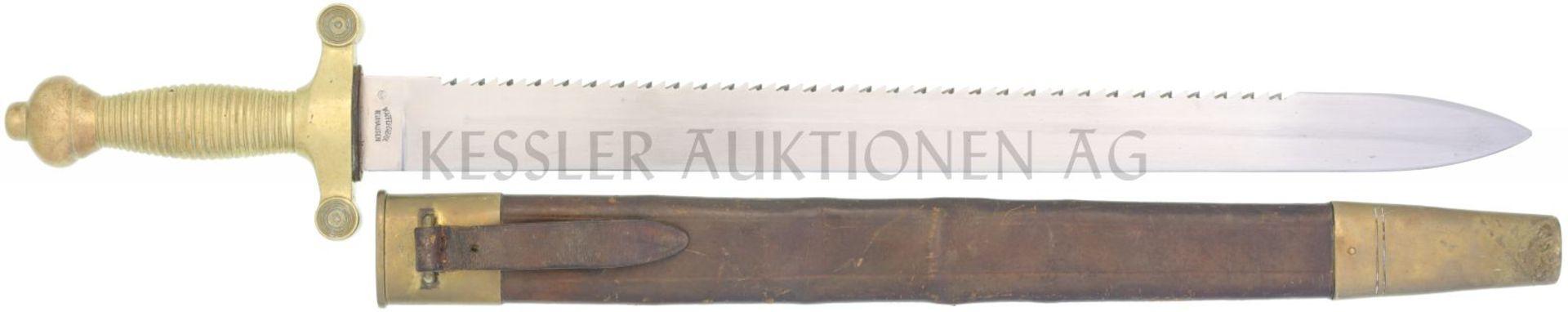 Faschinenmesser 1852, Genie oder Sanität Messinggefäss mit 26 Rillen, Parierstange mit 4 Rillen.