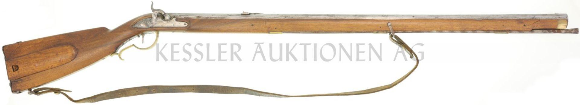 Perkussionsbüchse, Jagdstutzer, aptiert von Steischloss- auf Perkussionszündung, Kal 16mm LL 970, TL