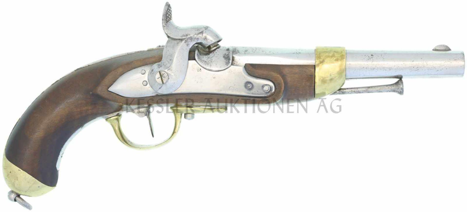 Perkussionspistole, eidg. Ord. 1817/42, Kal. 17.6mm, Hersteller unbekannt, auf der Schlossplatte ist