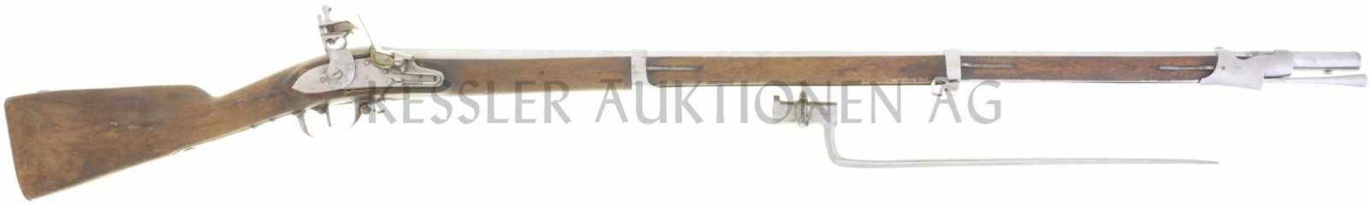 Steinschlossgewehr, Infanterie 1817 (franz. 1777), Kant. BL, Kal. 17.6mm LL 1030mm, TL 1410mm,