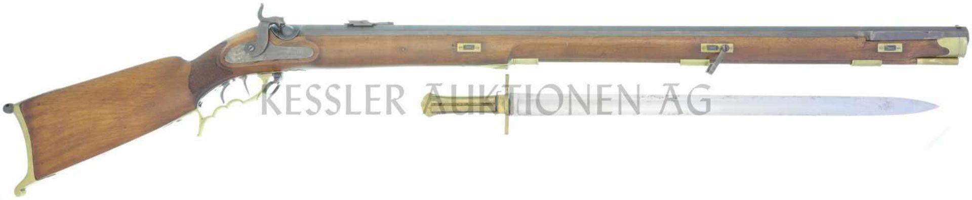 Perkussionsstutzer um 1840, Scharfschützen AG, Kal. 16mm LL 930mm, TL 1310mm, schwerer, gezogener