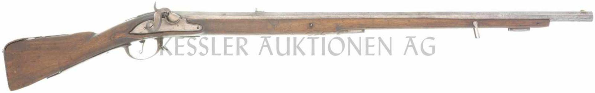 Perkussionsstutzer, Kt. Zug, Kal. 14mm LL 810mm, TL 1115, gezogener Achtkantlauf, Kimme und Korn
