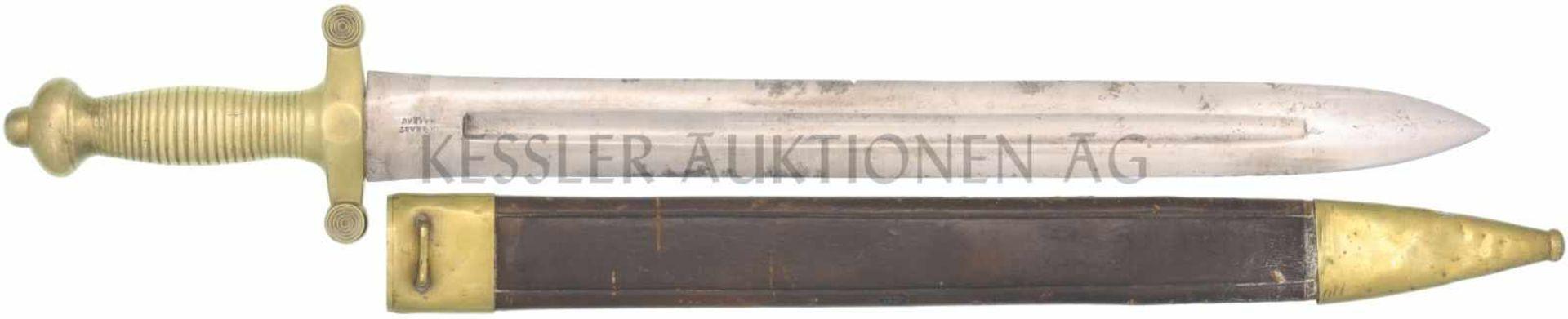 Faschinenmesser Coup-choux, Artillerie 1831, A. Brast, Aarau KL 490mm, TL 640mm, zweischneidige