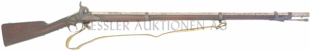Perkussionsgewehr, Infanterie 1817/42, Kal. 17.6mm LL 960mm, TL 1370mm, Rundlauf, flache
