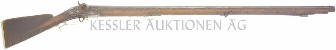 Perkussionsstutzer um 1840, kant. Ordonnanz, Kal. 18mm LL 1085mm, TL 1455mm, gezogener Achtkantlauf,
