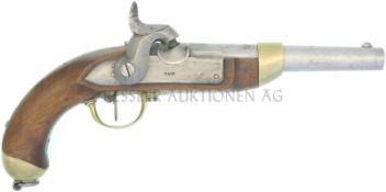 Perkussionspistole, Mod. 1842, Kantonsschlag Thurgau, Hersteller Fa. Rieter & Co, Winterthur, Kal.