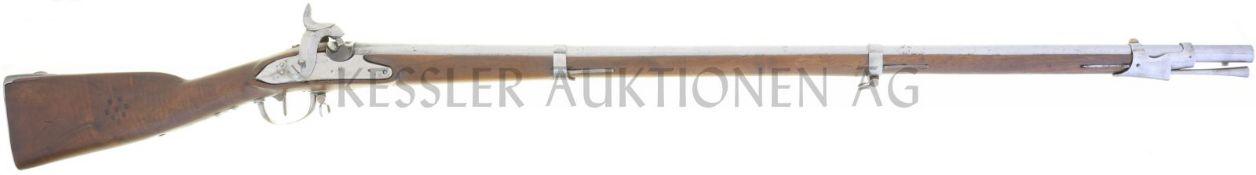 Perkussionsgewehr, Infanterie 1817/42, Bern, Kal. 17.6mm LL 1050mm, TL 1470mm, Rundlauf, Wurzel