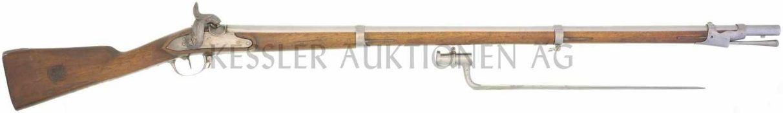 Perkussionsgewehr, Infanterie 1817/42, Kal. 17.6mm LL 1050mm, TL 1470mm, Rundlauf, Wurzel oktagonal,