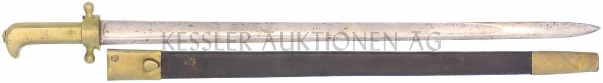 Waidmesser, kant. Ord. um 1830, Scharfschütze KL 640mm, TL 760mm, gerade Klinge, volle Wurzel,