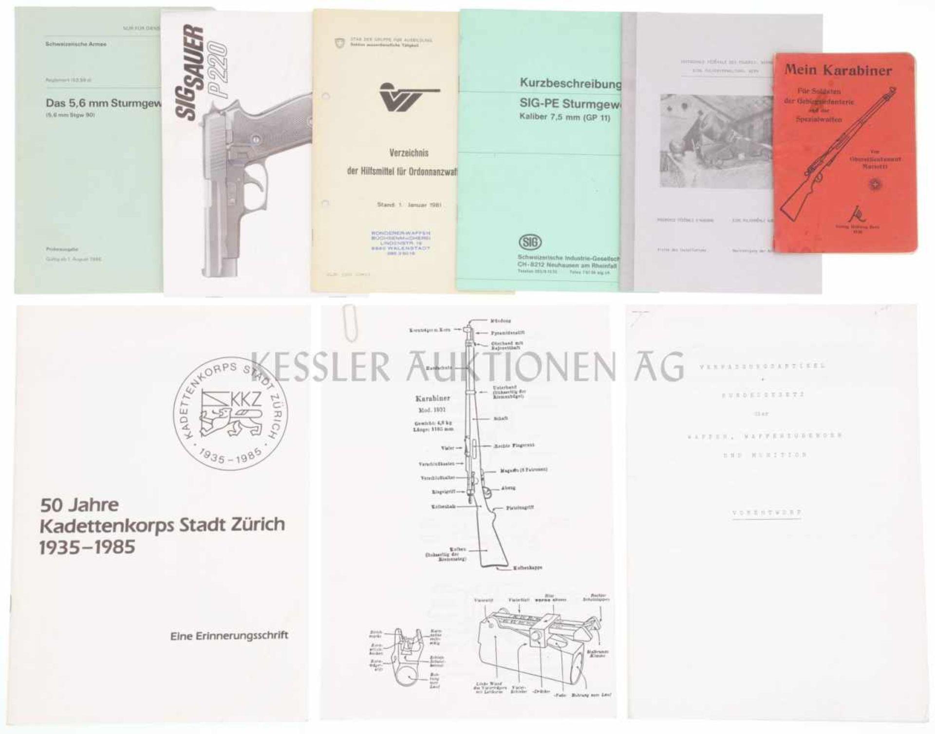 Los 6 - Konvolut von 9 Broschüren und Dokumentationen 1. Mein Karabiner, Verlag Hallwag Bern. 2. Eidg.