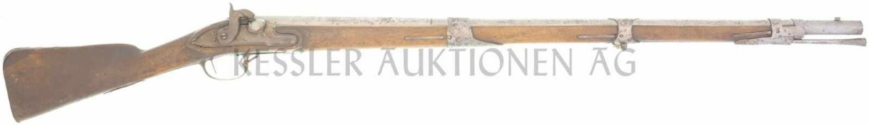 Perkussionsgewehr, Bern, Modell 1760/42, Kal. 18mm LL 920mm, TL 1300mm, Rundlauf, hinterer Drittel