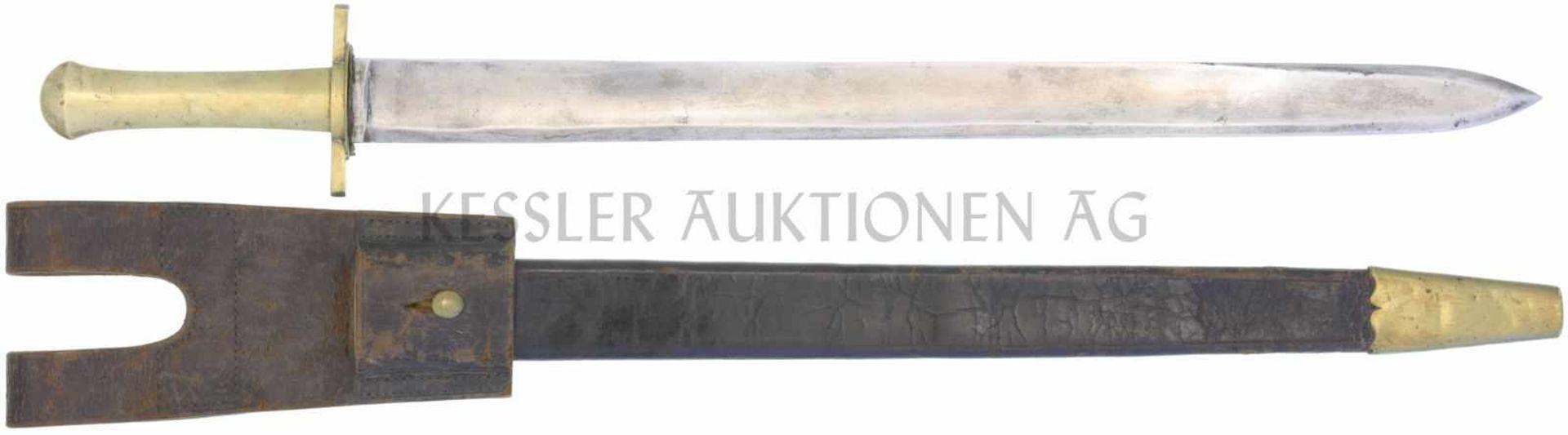 Waidmesser, kant. Ord. um 1830, Scharfschütze KL 540mm, TL 675mm, gerade Klinge, volle Wurzel,