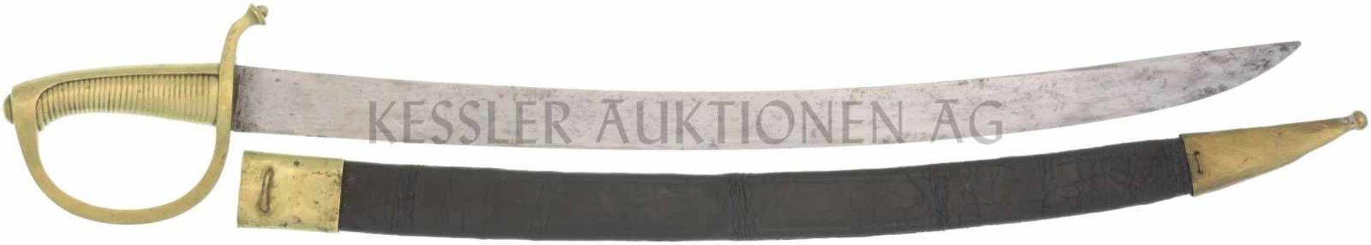 Säbel 1842/52, Briquet, für unberittene Mannschaft KL 596, TL 730mm, volle Wurzel, flacher Rücken