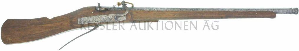Luntenschlossbüchse, um 1630, Kal. 20mm LL 1150mm, TL 1550mm, halb Achtkant-/halb Rundlauf mit