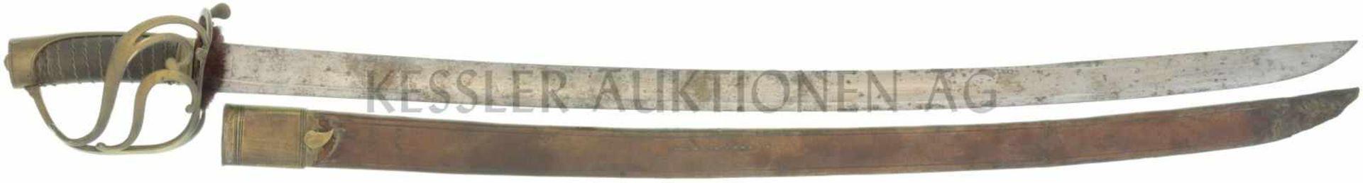 Säbel Frankreich um 1795, Offizier KL 850mm, TL 980mm, Rückenklinge mit beidseitiger breiter