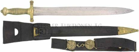 Faschinenmesser 1842/52 Messinggefäss mit 26 Rillen, Parierstange mit 4 Rillen. KL 482mm, TL