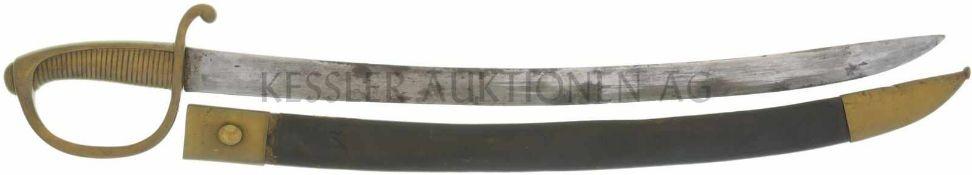 Säbel 1842/52, unberittene Mannschaft KL 600mm, TL 735mm, volle einschneidige Rückenklinge,