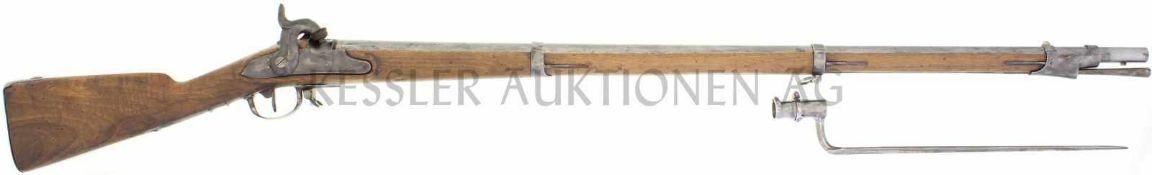 Perkussionsgewehr, Infanterie 1817/42, Thurgau, Kal. 17.6mm LL 1050mm, TL 1470mm, Rundlauf, Wurzel