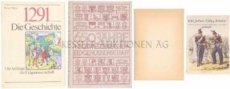Konvolut von 4 Büchern 1. 100 Jahre Eidg. Armee. Schweizerwoche-Sonderausstellung bei Jelmoli. 2.
