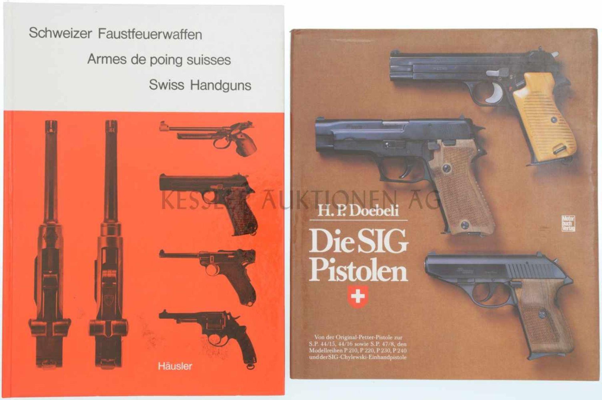 Konvolut 2 Bücher 1. Die SIG Pistolen, Autor H.P. Doebeli, Motorbuch Verlag Stuttgart, 1. Auflage