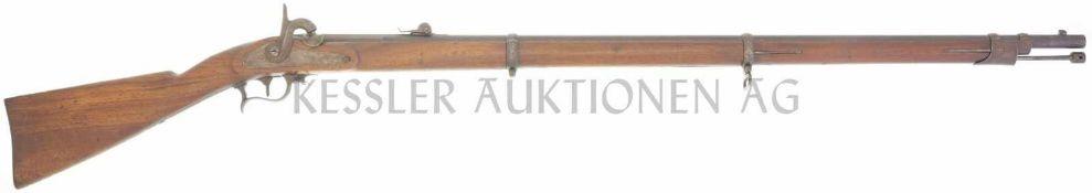 Perkussionsgewehr, Infanterie Ord. 1863, Kal. 10.4mm LL 962mm, TL 1375mm. Brünierter gezogener