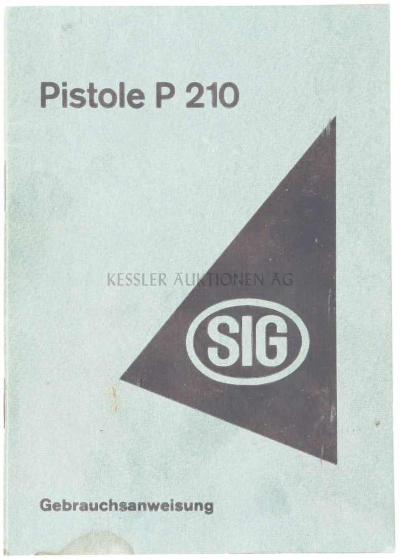 Los 9 - Bedienungsanleitung für die SIG P210 1. Auflage 1950 Grün kartonierte Bedienungs- und