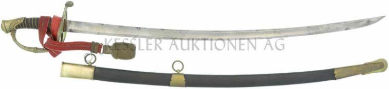 Infanterie-Offizierssäbel, Ordonnanz 1852 KL 755mm, TL 916mm, gebogene Rückenklinge, volle Wurzel,