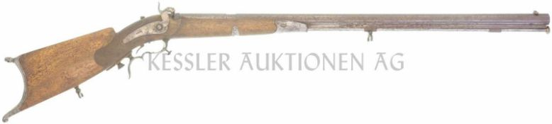 Perkussionsstutzer um 1860, Affolter Burgdorf, Kal. 10,4mm LL 830mm, TL 1280mm, schwerer gezogener