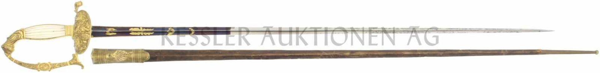 Degen für Stabsoffiziere und höhere Beamte, franz. Mod 1786 800mm lange hohlgeschliffene