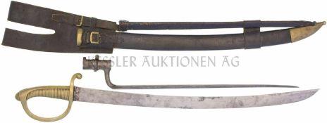Säbel 1842/52 mit Stichbajonett zu IG 1842, unberittene Mannschaft KL 595mm, TL 730mm, Klinge