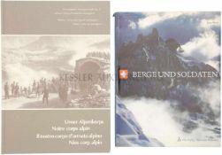 Konvolut von 2 Büchern 1. Berge und Soldaten, Autor Jörg Wyss, Ott Verlag Thun und München, 1963. 2.